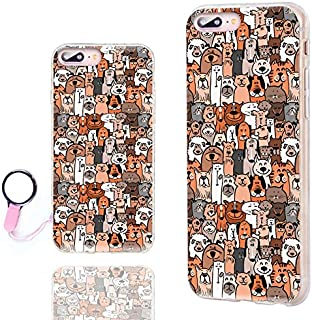 iPhone 8 Plus Case Cute,iPhone 7 Plus Case for Girls, ChiChiC Anti-Scratch Slim Flexible Soft TPU Rubber Cases Cover for iPhone 7 8 Plus 5.5 Inch,Cute Cartoon Animal Brown Dogs Cats Smile pet