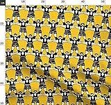 Retro, Gelb, Streifen, Schnurrbart, Zirkus Stoffe -