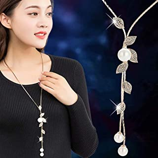 Essencedelight Necklace for Women Jewelry Tassel Long Sweater Necklaces Pearl Silver