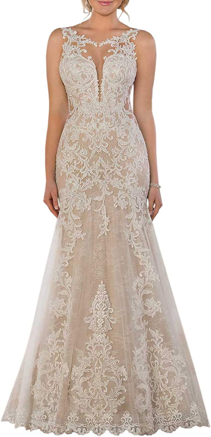 ONLYCE Beaded Sleeveless Mermaid Lace Wedding Dress with Appliques Long