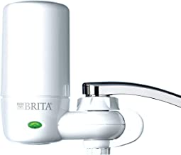 Brita Tap Water Filter System, Water Faucet Filtration System with Filter Change Reminder, Reduces Lead, BPA Free, Fits Standard Faucets Only - Complete, White