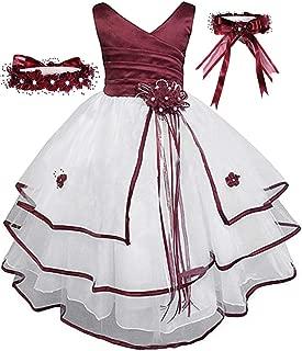 Áo quần dành cho bé gái – Free Matching Hair Wreath Little/Big Girls Flower Girl Communion Pagean S148t Wedding Easter Dress