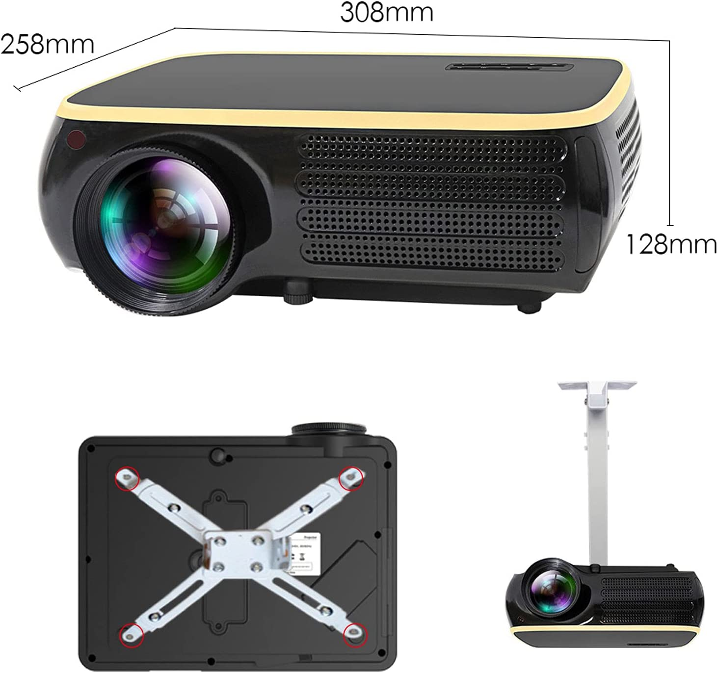 Portable Projector, Definition Wireless 4k Mobile Phone Projection Screen,High Definition Smart 29000 Lumens Home Office Projector, Support USB, TF Card, Laptop and More