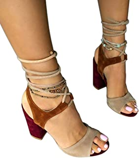 1c1439d1b26b Women s Summer T-Shaped Wood-Tone Buckle Block Suede Open Toe Heel Pump  Sandals