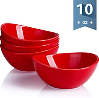 Sweese 101.104 Porcelain Bowls - 10 Ounce for Ice Cream Dessert, Small Side Dishes - Set of 4, Red