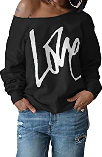 Womens Love Sweatshirt Letter Print Off The Shoulder Slouchy Pullover