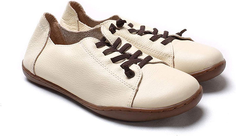 Baixa Women shoes Flat 100% Authentic Leather Plain Toe Lace up Ladies shoes Flats Woman Moccasins Female Footwear