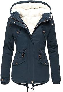NJYBF Abrigo de invierno para mujer, cálido, chaqueta de invierno larga, abrigo de invierno, abrigo grueso con capucha, fo...