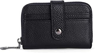 Women's Wallet First Layer Leather Card Holder Card Holder Mini Short Leather Credit Card Holder ID Card Holder (Color : Black, Size : S)