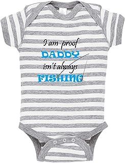 7a8e2e4d8 I Am Proof Daddy Isn't Always Fishing Baby Kid Stripe Fine Jersey Bodysuit  Grey