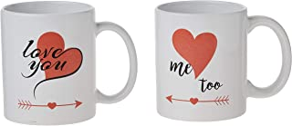 Couple Coffee Mug Love You Me Too with Love Arrow Coffee Cup Set of 2 Coffee Mug Novelty Gift for Men Women Valentine's Day
