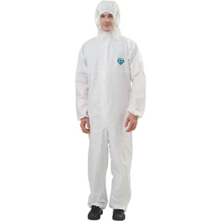 Medtecs Hazmat Suits - 6 Sizes, 1/50 PC Options - Fabric Passed AAMI Level 4 Disposable Coverall PPE Suit for Biohazard Chemical Protection - CoverU Full Body Protective Clothing with Hood | L