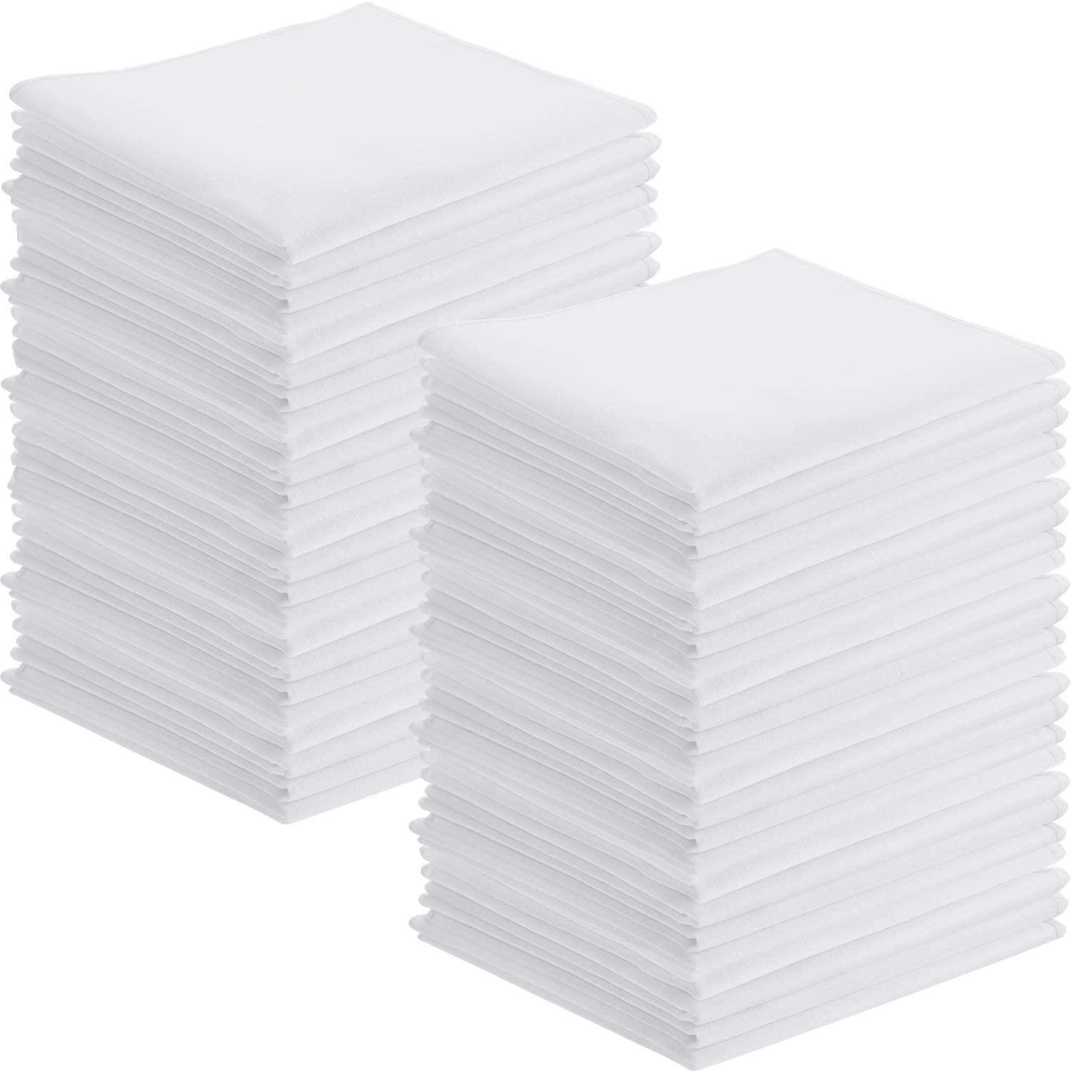 50 Pack White Handkerchiefs Classic Hankies Pocket Square Towel Small Size for Kids Girl Boy Tea Parties