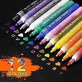 Zoonnis Acrylstifte Marker Stifte, 12 Farben Permanent Marker Farbe Set für Keramik, Rock, Holz, Glas, Stoff, Leinwand, Papier, Metall, Fotoalbum, Becher Design, Becher Design und DIY Handwerk