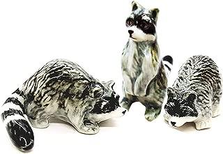 WitnyStore Team Raccoons Ceramic Figurine Animal Miniature Collectibles Cute Souvenir Decor