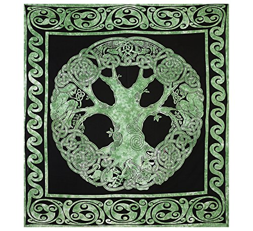 Green Tree of Life Design Double Bedspread, Psychedelic Bohemian Intricate Floral Design, Bedspread, Tapestry, Tapestry