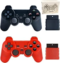 Wireless Controller for PS2 Playstation 2 Dual Shock(Pack of 2,Black and Red)