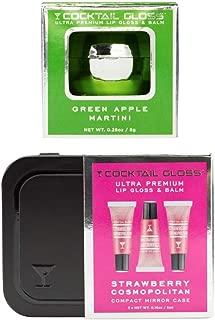 Cocktail Gloss Ultra Premium Lip Gloss-Balm Combo Set - Mirror Ball Keychain (Green Apple Martini) and Compact Mirror Case (Strawberry Cosmopolitan - Three Glosses)