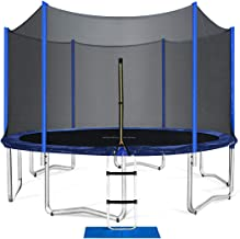 ORCC Trampolines for Kids and Family, 15 14 12 10 FT Round Trampoline with Safety Enclosure Net, Large Backyard Trampoline with Ladder Jumping Mat Outdoor Workout