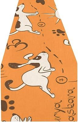 Amazon.com: InterestPrint Table Runners Cartoon Dog Yoga ...
