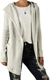 Howely Womens Knit Hooded Mid Long Sweatshirt Casual Loose Cardigan Coat