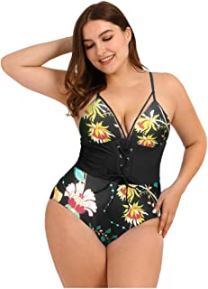 Women Plus Size One Piece Swimsuit Bodysuit, Ladies Beach Printed Lace up Bikini Set Tankini