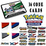 Pokemon 36 Assorted Online Code Cards from XY EX, Sun and Moon GX, and More with Totem Mini Binder