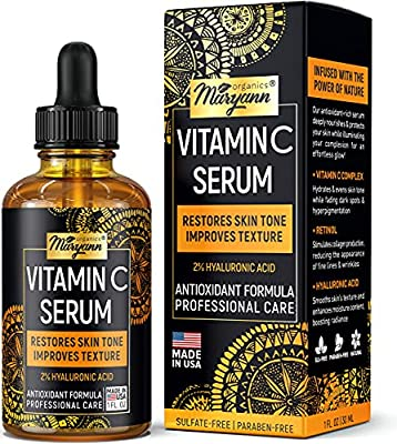Vitamin C Serum with 2% Hyaluronic Acid - Skin Clearing & Anti-Aging Support - Made in USA - Reduce Dark Spots & Wrinkles - Antioxidant - Improve Skin Tone & Texture - 1 fl oz