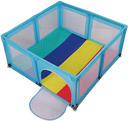 YEHL Playpen Baby with Mat  Extra Tall 70cm Portable Security Fence for Infants Toddler Blue  Can Used The Bed   Size 180x190cm