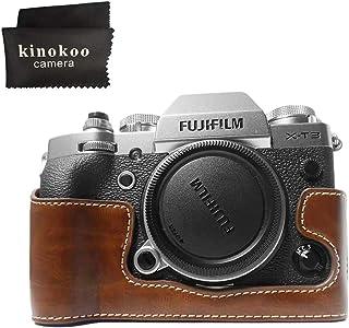 kinokoo 富士フイルム FUJIFILM X-T3専用カメラケース ボディケース バッテリーの交換でき 三脚ネジ穴付き シンプル 標識クロス付き(コーヒー)