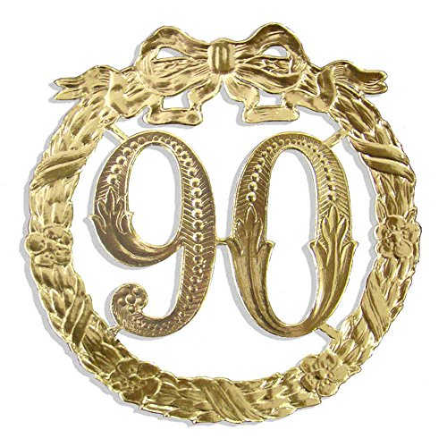 Kunze A014024901 Jubiläumszahl 90, Ø 13 cm, Gold