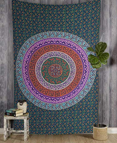 Marubhumi Hippy Mandala Bohemian Tapestries, Indian Dorm Decor, Psychedelic Tapestry Wall Hanging Ethnic Decorative Tapestry, Green, 85 x 55 Inches