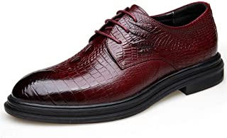 Bin Zhang Business Oxford for Men Embossed Wedding Shoes Lace up Genuine Leather Round Toe Burnished Style Rubber Sole Wear-Resisting (Color : Wine red, Size : 6 UK)