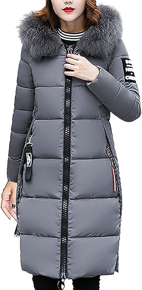 Sunmoot Women Down Coat Faux Fur Hooded Warm Puffer Jacket Winter Slim Plus Size Maxi PaddedOvercoat