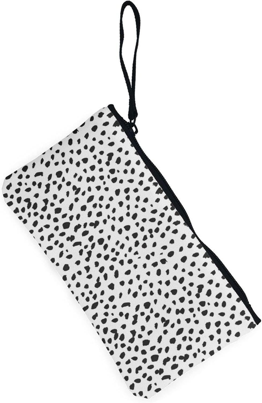 AORRUAM Black and white spots Canvas Coin Purse,Canvas Zipper Pencil Cases,Canvas Change Purse Pouch Mini Wallet Coin Bag