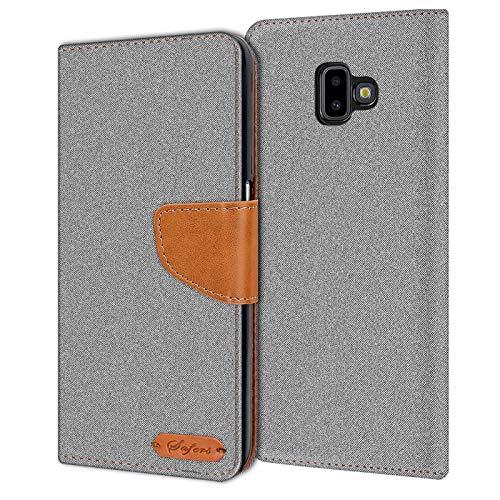 Verco Galaxy J6+ Hülle, Schutzhülle für Samsung Galaxy J6 Plus Tasche Denim Textil Book Case Flip Case [6 Zoll] - Klapphülle Grau