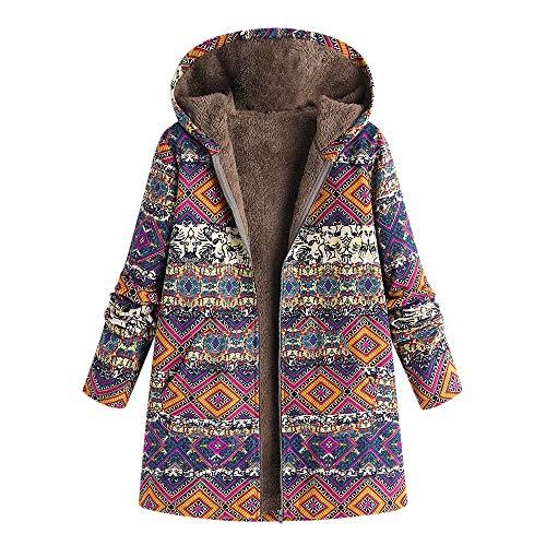 YWLINK Damen Parka Aztekisch Drucken Mantel Oversize Winter Warme Futter Kapuzenjacke Blumenmuster Mit Taschen Vintage üBergroßE Outwear(XXXXL,Heißes Rot)