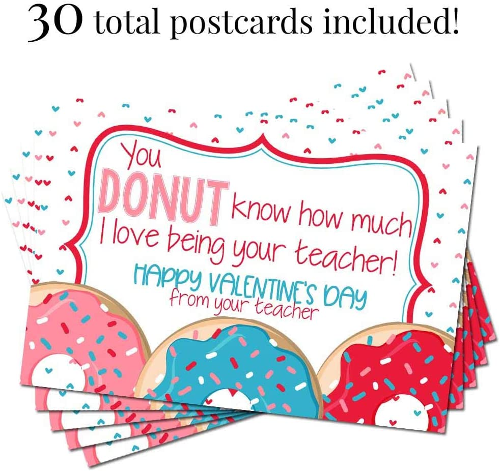 4x6 Fill In Notecards by AmandaCreation 30 Cute Donut Themed Happy Valentines Day Blank Postcards For Teachers To Send To Students