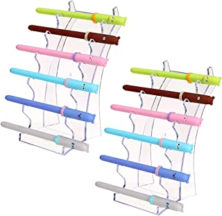 Hipiwe Acrylic Pen Holder Display Stand Clear Makeup Brush Rack Organizer Holder for E-Cigarette 6-Slots Nail Brush Eyebrow Fountain Pen Rack Display 2 Packs