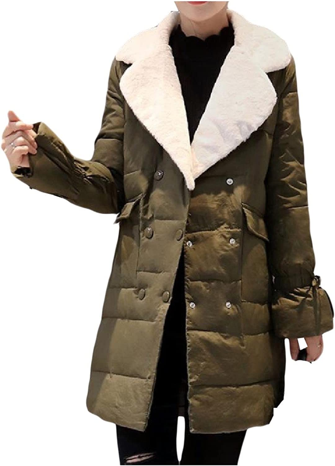 Zimase Women's AllMatch Solid colord Turn Down Collar Thick Coat