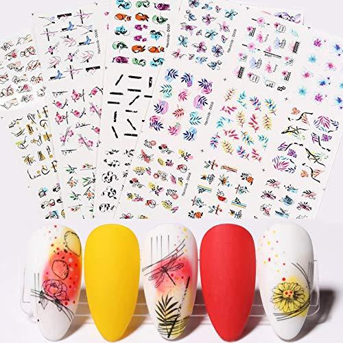 BLOUR 48 Hojas de calcomanías de Agua para uñas, Conjunto de Deslizadores de Transferencia de Flores de Hoja, Pegatinas de Agua de línea de Cara Abstracta para decoración de manicura de uñas