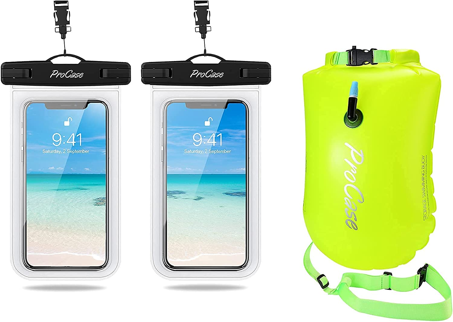 ProCase Universal Waterproof Pouch IPX8 Waterproof Cellphone Dry Bag Bundle with 28L Swim Safety Float Swim Buoy Tow Float with Waterproof Drybag