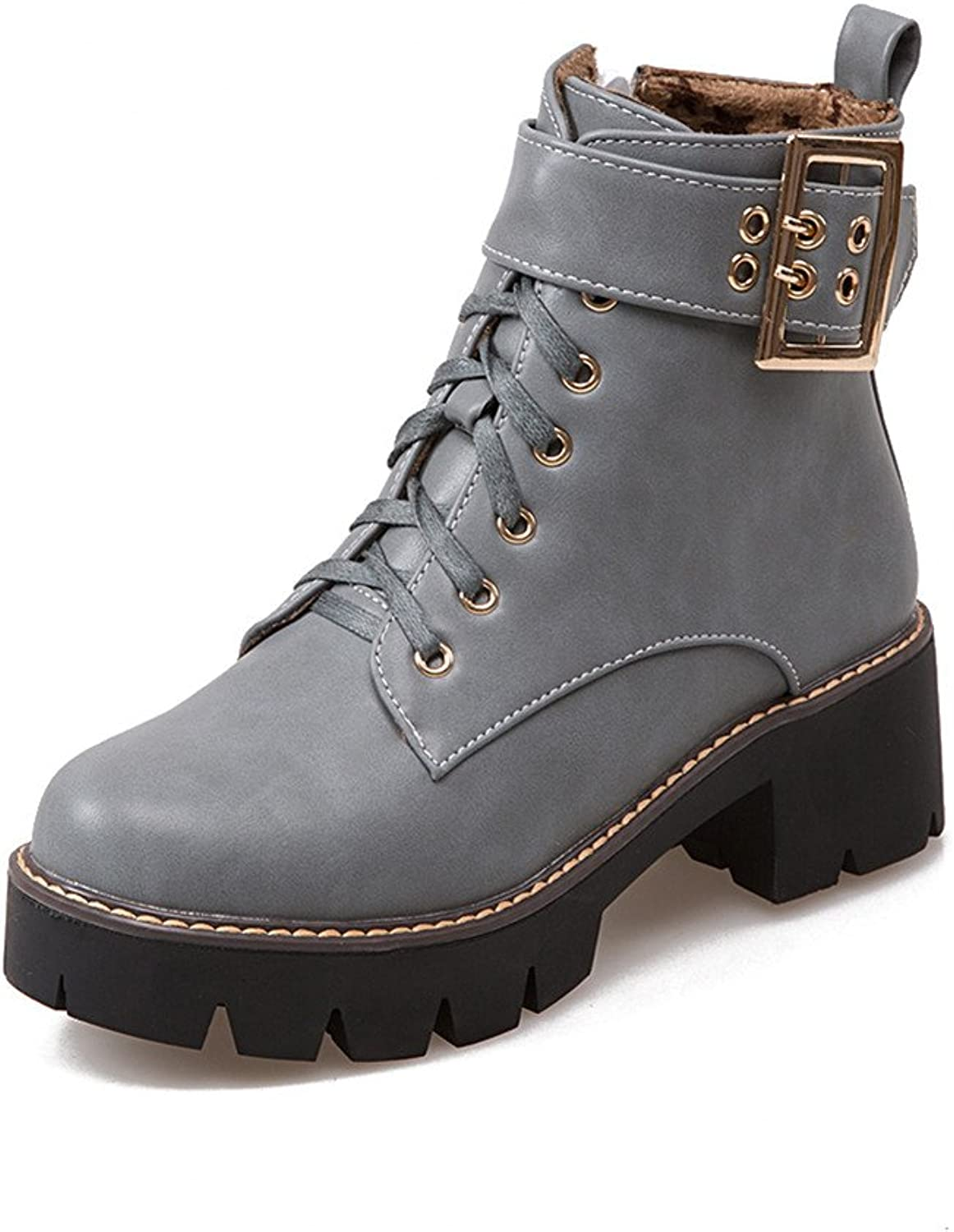 Lucksender Womens Buckle Lace Up Side Zip Chunky Square Heel Short Boots