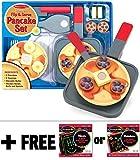 Melissa & Doug Flip & Serve Pancake - Wooden Play Food Set + Free Scratch Art Mini-Pad Bundle