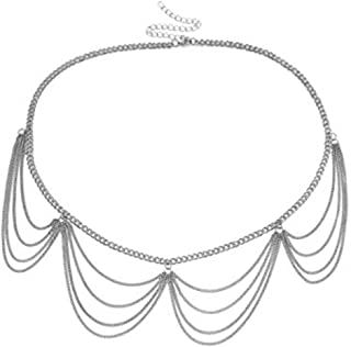 INSANEY Simple Wave Multilayer Metal Link Waist Chain Belt Long Tassel Charm Belly Chains Waistbands Body Jewelry
