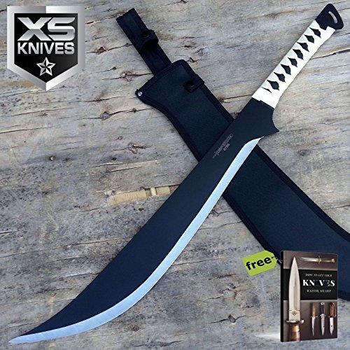 "S.S. Swords 27.5"" Full Tang Stainless Steel Black Machete Ninja Carbon Steel Sharp Blade Sword with Sheath New + Free eBook by Survival Steel"