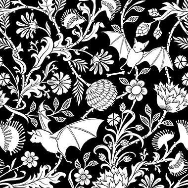Bat Botanical Print Pillow Sham, Black and White Cotton Sateen Bedding