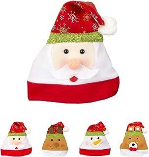 Iriwa サンタ帽子 サンタクロース コスプレ帽子 大人用 フランネル ふわふわ 可愛い 雪だるま トナカイ 熊 サンタ顔付き 大きめサイズ クリスマスパーティー 用品 贈り物 1枚 2枚 4枚セット (サンタ顔一枚)