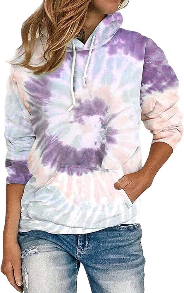 Women's Tie Dye Print Crewneck Long Sleeve Side Slit Loose Pullover Tops
