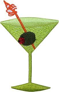 ID 1964A Martini with Olive Patch Glass Alcohol Embroidered Iron On Applique